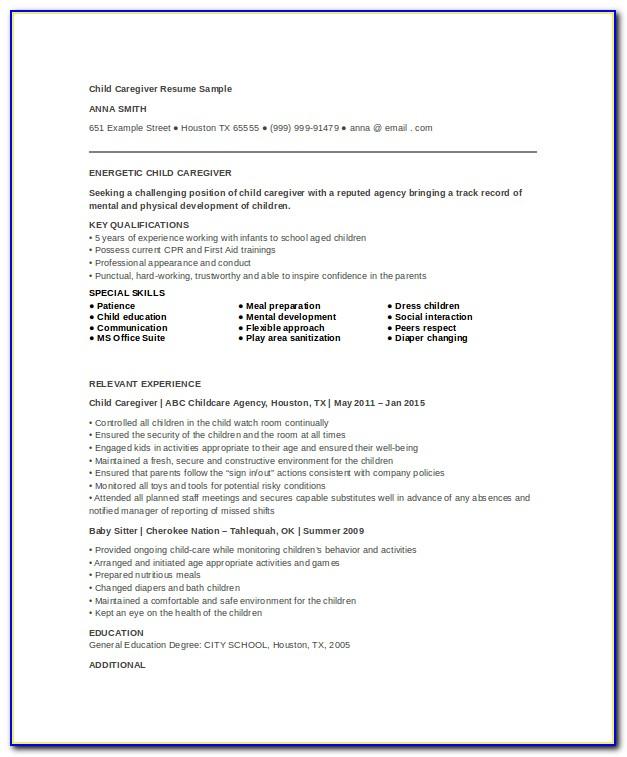 Child Caregiver Resume Templates