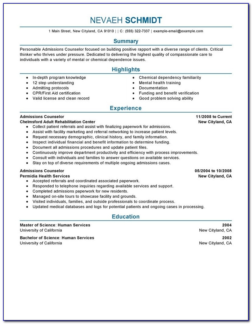 College Admission Counselor Objective Resume