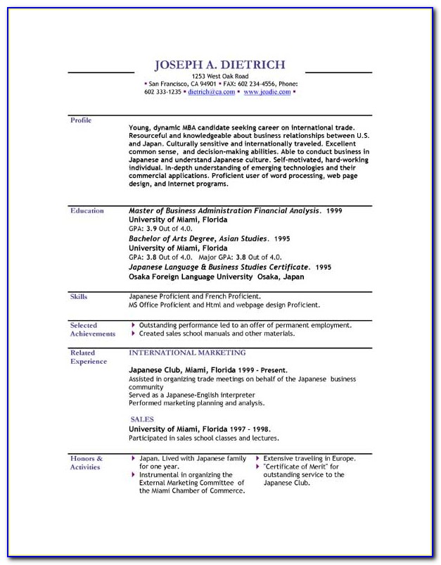 College Student Resume Template Free