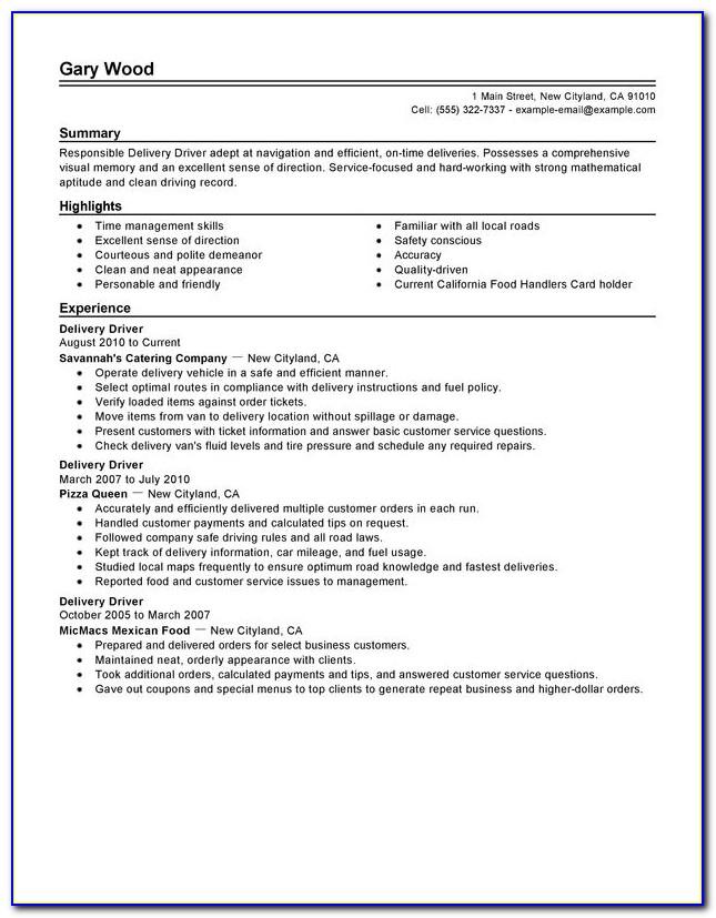 Company Driver Resume Pdf