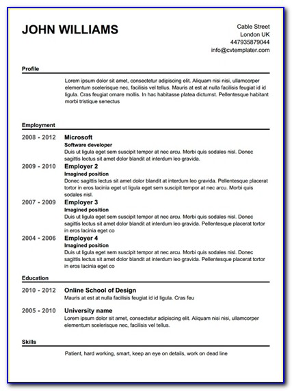 Resume Example: Free Printable Resume Builder 100% Free Resume Intended For Completely Free Resume Builder Template
