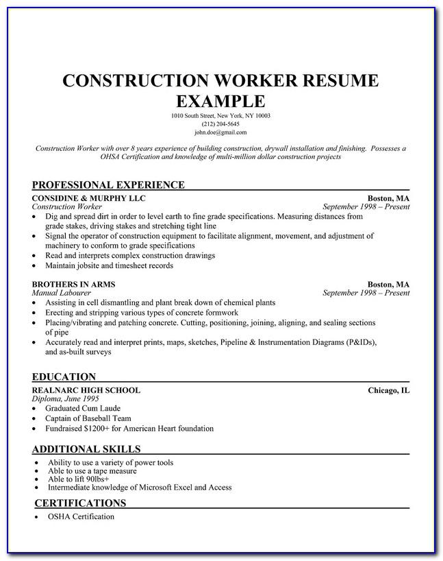 Construction Cv Template Word