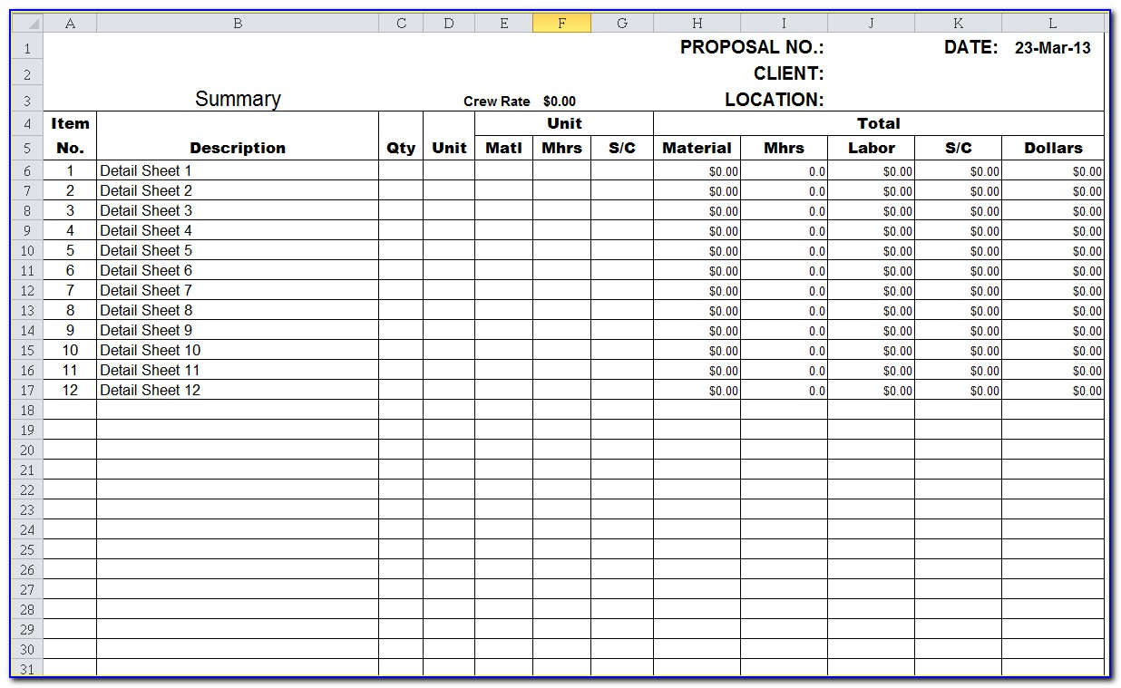 Construction Estimate Template Excel