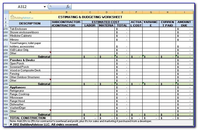 Construction Estimate Template Microsoft Office