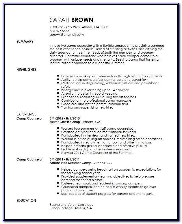 Curriculum Vitae Counselor Template