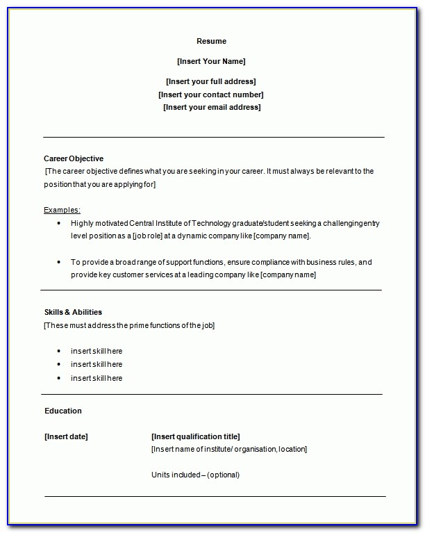 Entry Level Resume Template Word Customer Service Resume Template In Entry Level Resume Template Word