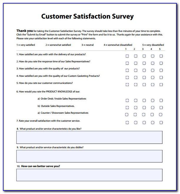 Customer Service Survey Template Word