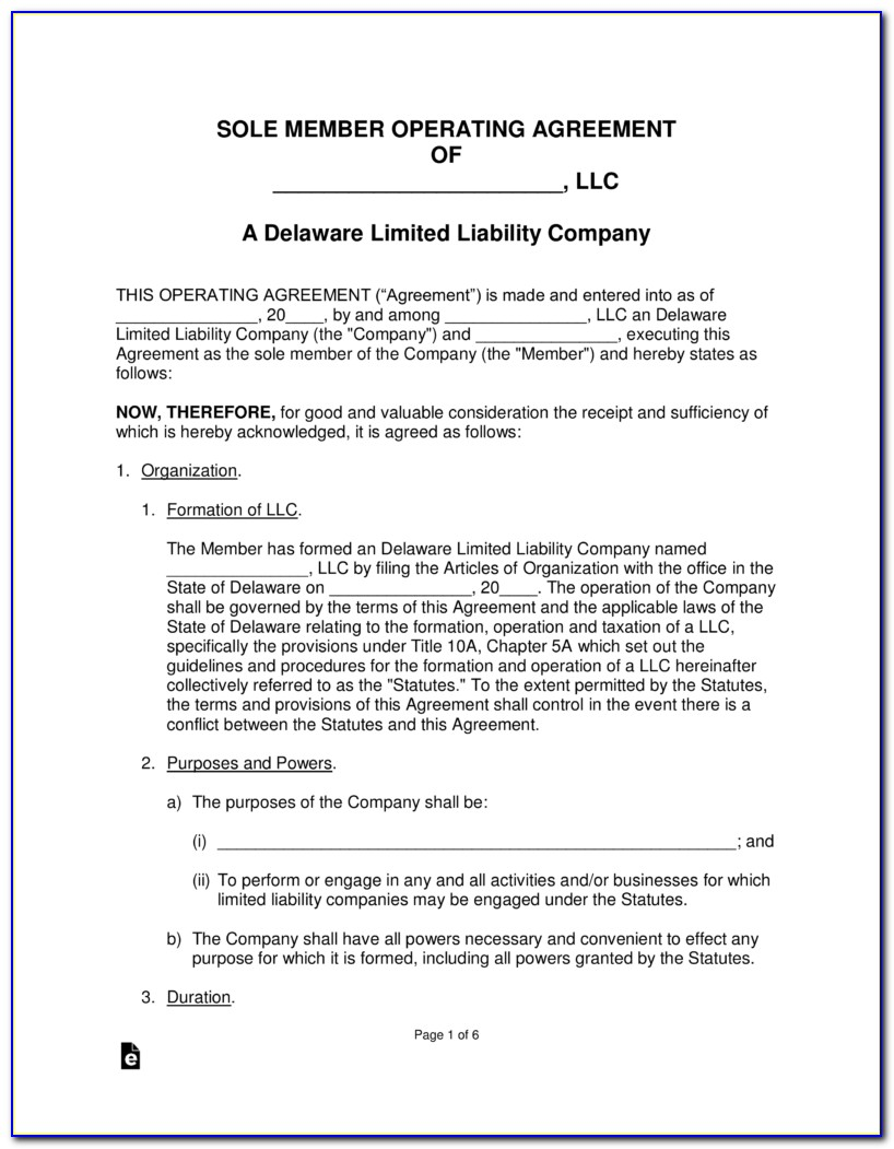 Delaware Operating Agreement Template