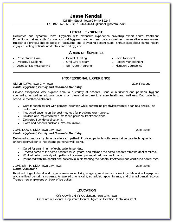 Dental Hygienist Resume Template Free