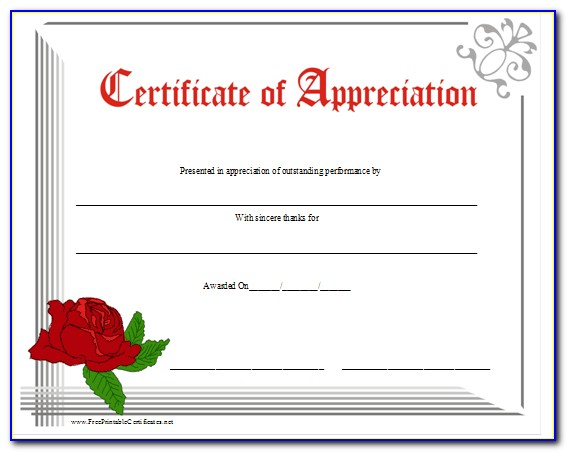 Editable Certificate Of Appreciation Template Word