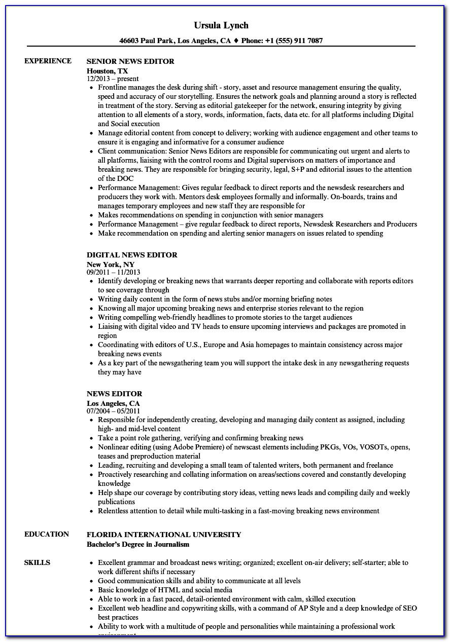 Editorial Resume Template