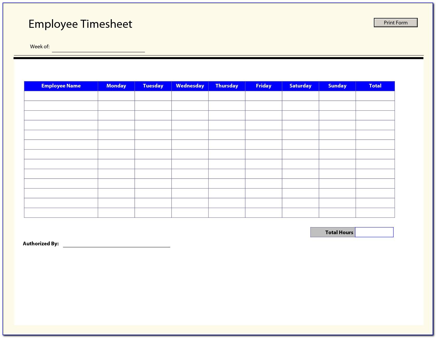 Employee Timesheet Template Free