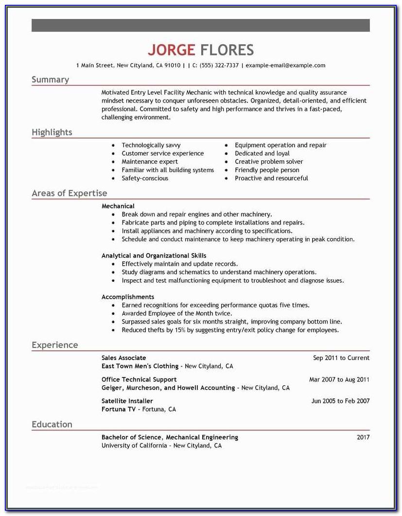 Beginner Resume And Best Entry Level Mechanic Resume Example