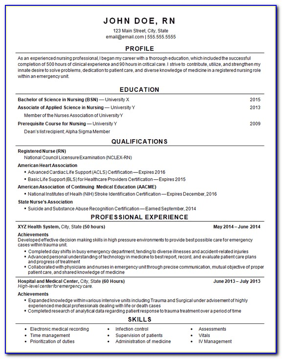 Er Registered Nurse Resume Examples