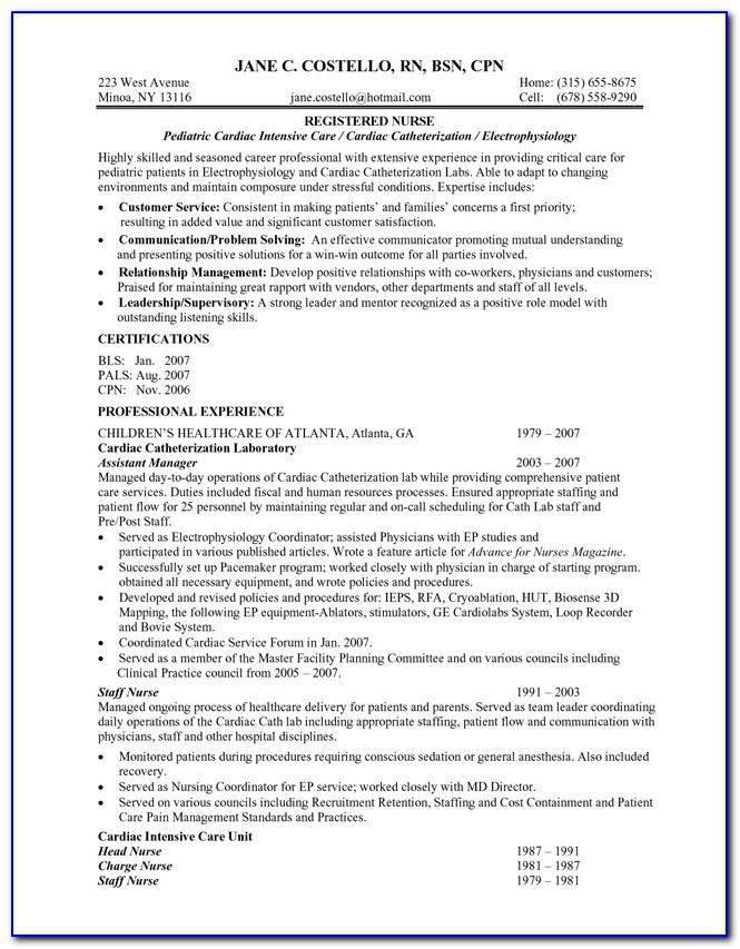 Example Of Registered Nurse Resume Australia