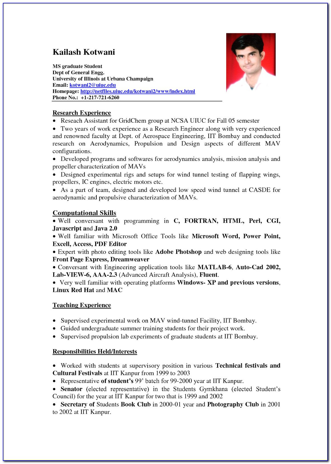 Examples Of Resume Format For Professionals