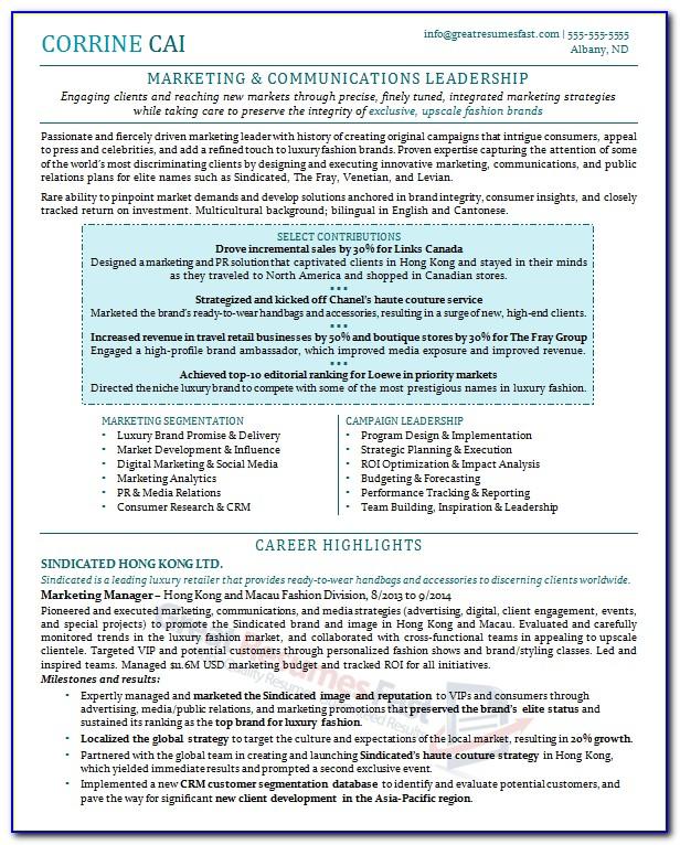 Executive Resume Examples 2015