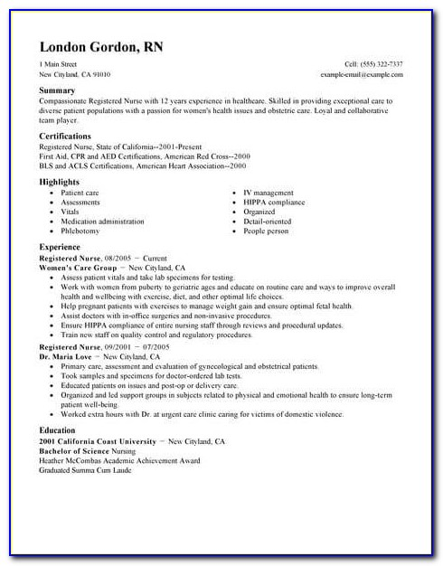 Experienced Registered Nurse Resume Examples