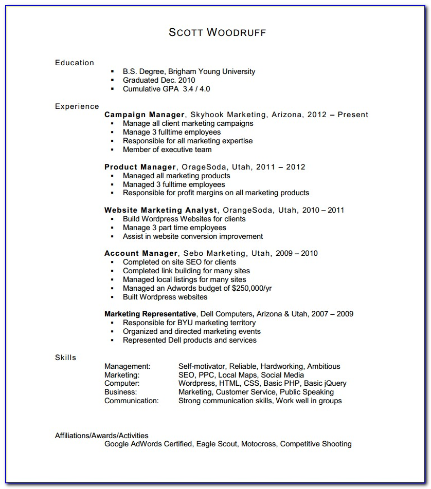 Filling Out Resume With No Work Experience