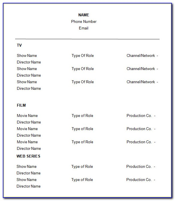 Free Acting Resume Template With Photo