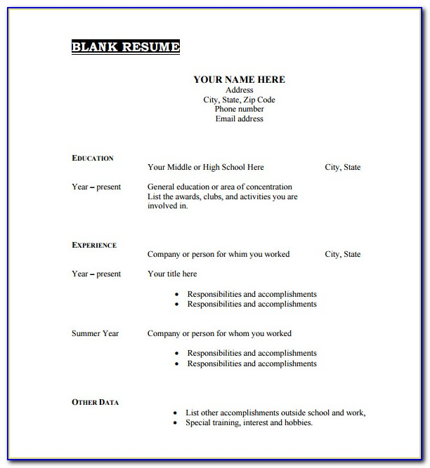 Free Blank Resume Template Download
