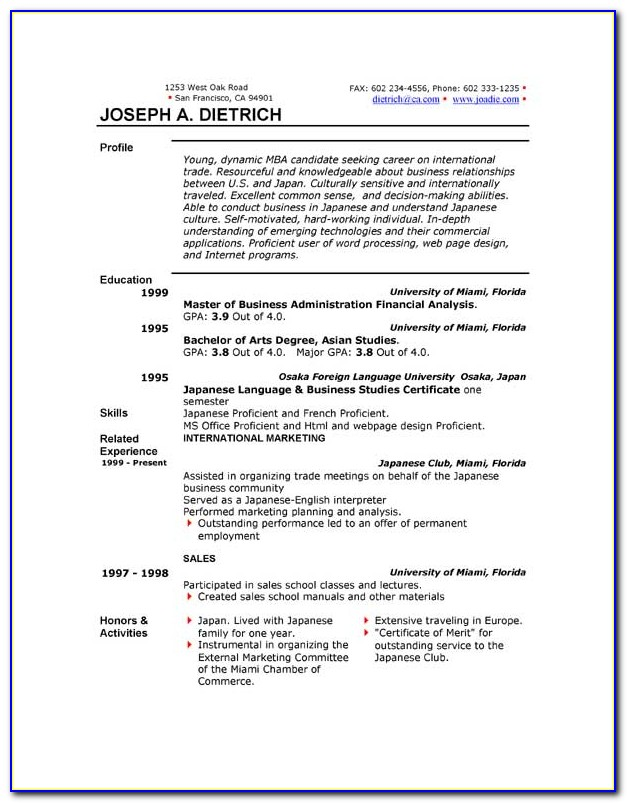 Free Business Resume Template Word