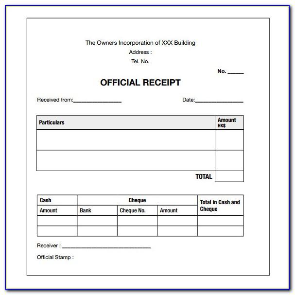 Free Cash Receipt Template Uk