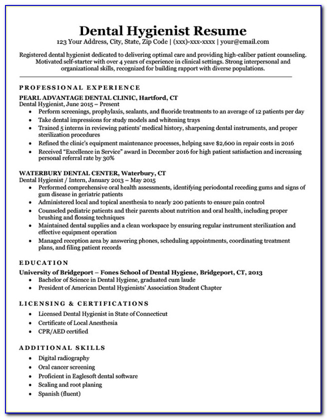 Free Dental Hygiene Resume Template