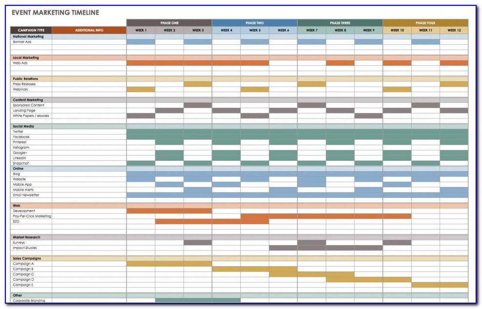 Free Marketing Timeline Template Excel