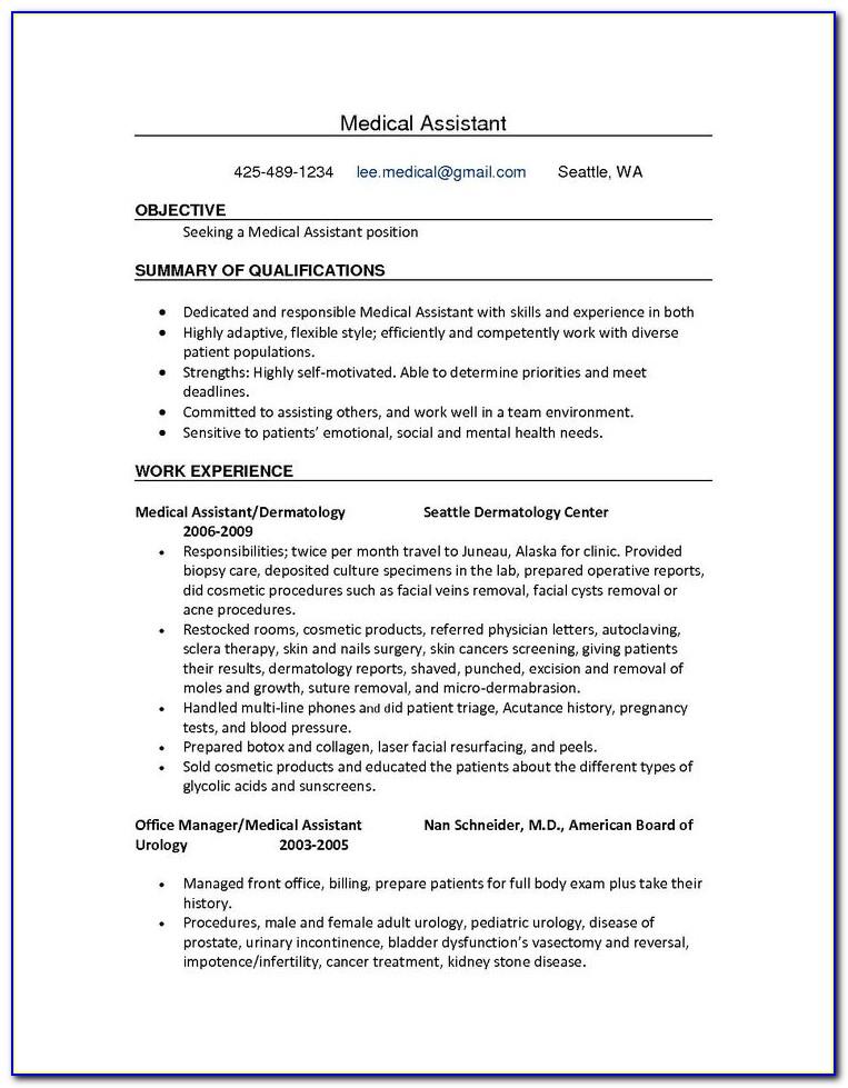 Free Medical Assistant Resume Samples
