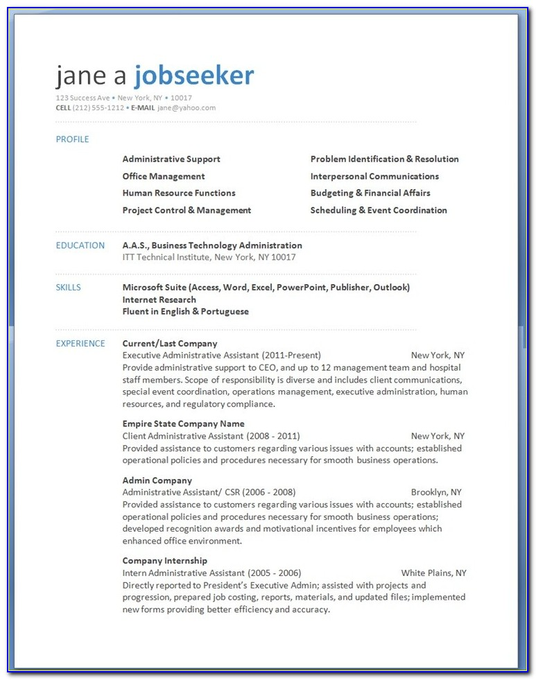 Free Modern Resume Templates Word Download