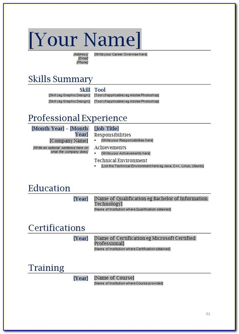 Free Online Printable Resume Templates