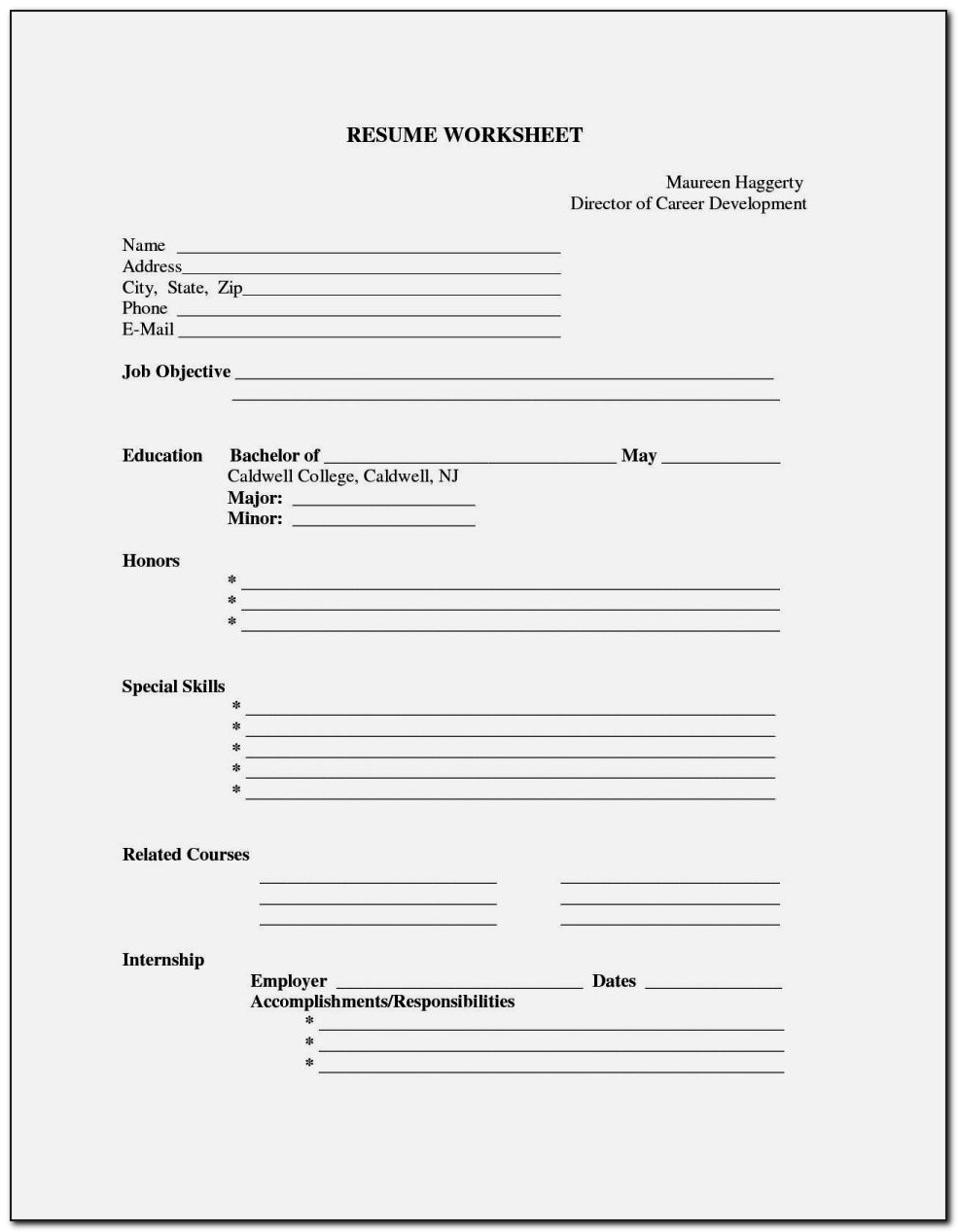 Fill In Blanks Resume Template Free