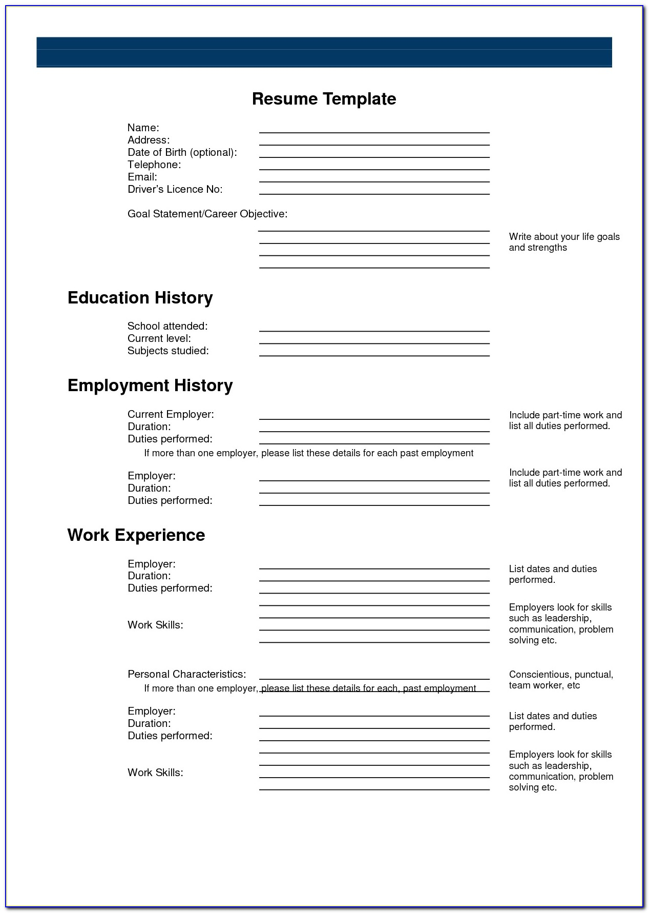 Free Printable Resume Template 2018