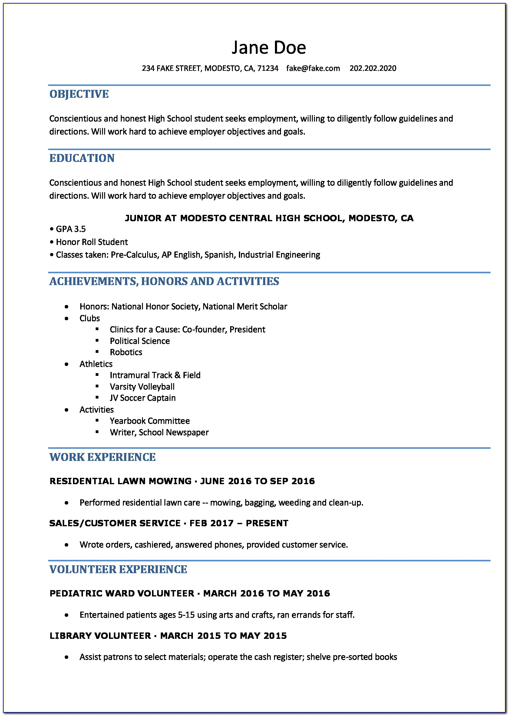 Free Printable Resume Template For Highschool Students