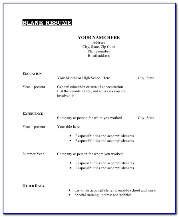 Free Printable Template Resume