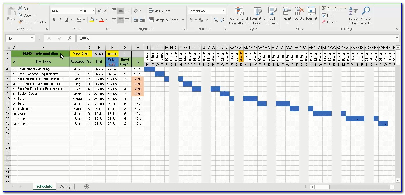 Free Project Plan Gantt Chart Excel Template