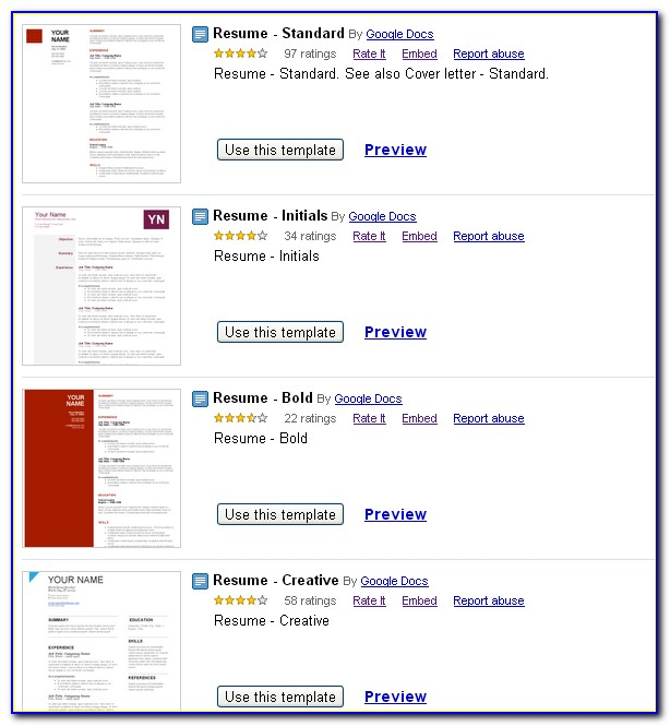 Free Resume Builder Google Docs