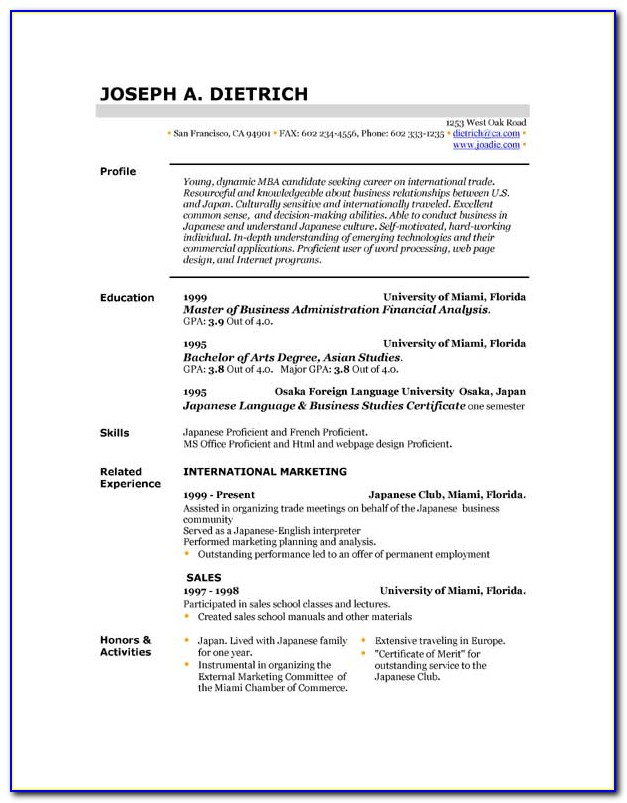 Free Resume Examples Download