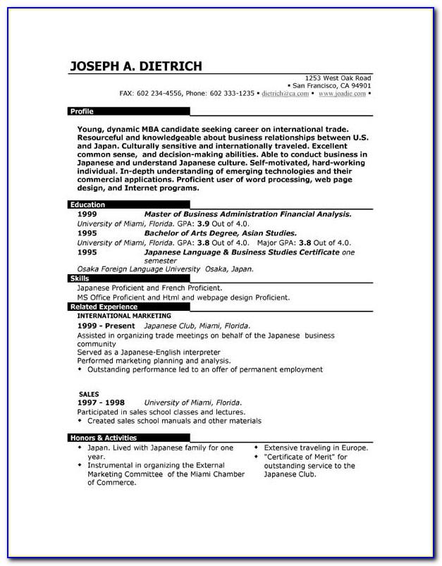 Free Resume Sample Format Download