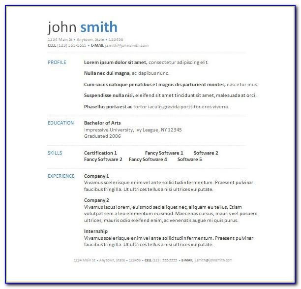 Free Resume Sample In Word Format