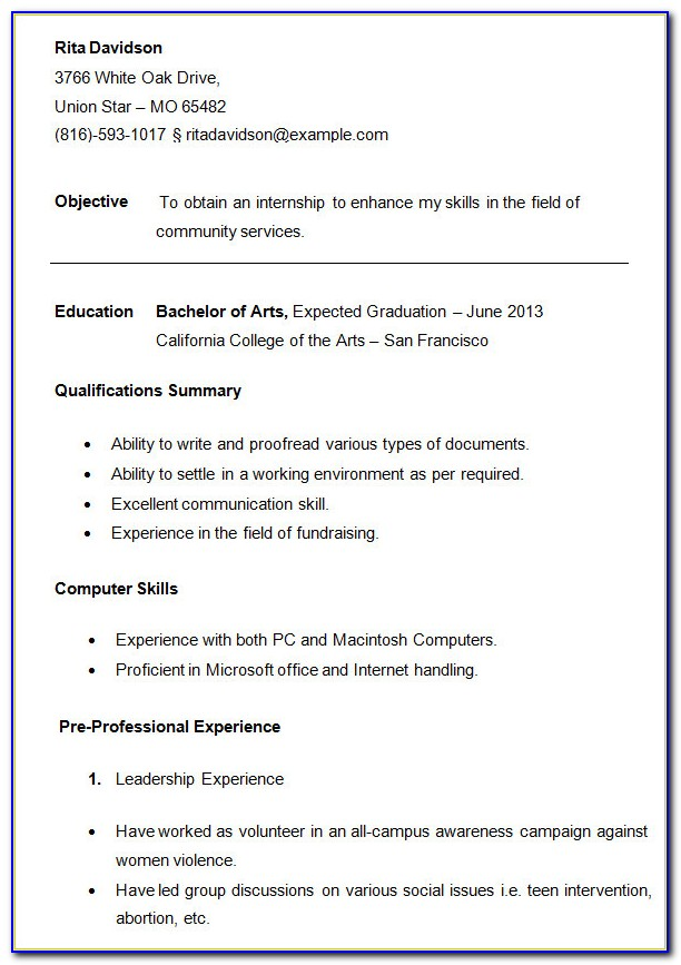 Free Resume Template For College Student