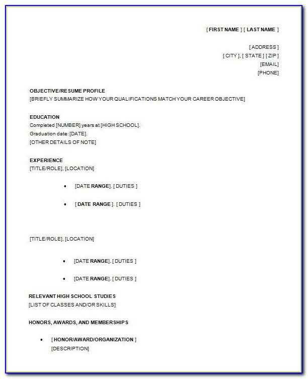 10+ High School Resume Templates – Free Samples, Examples Intended For Example Of A Resume For A Highschool Student