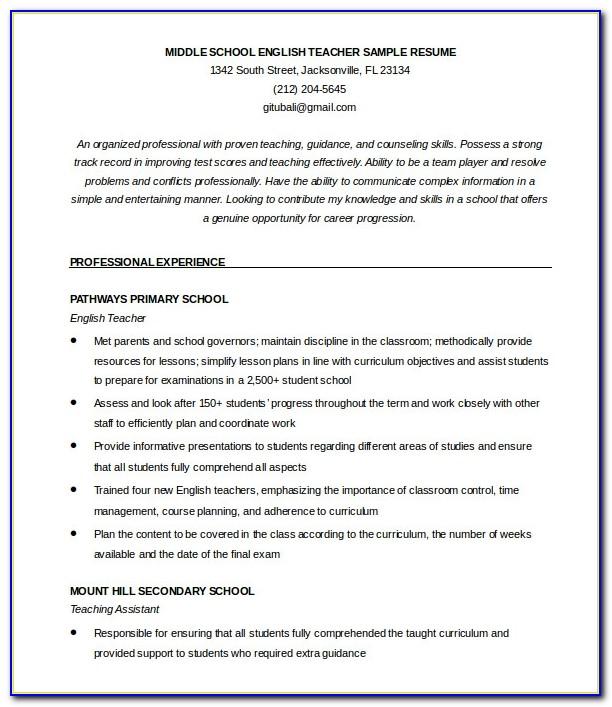 51 Teacher Resume Templates Free Sample Example Format English Resume Template