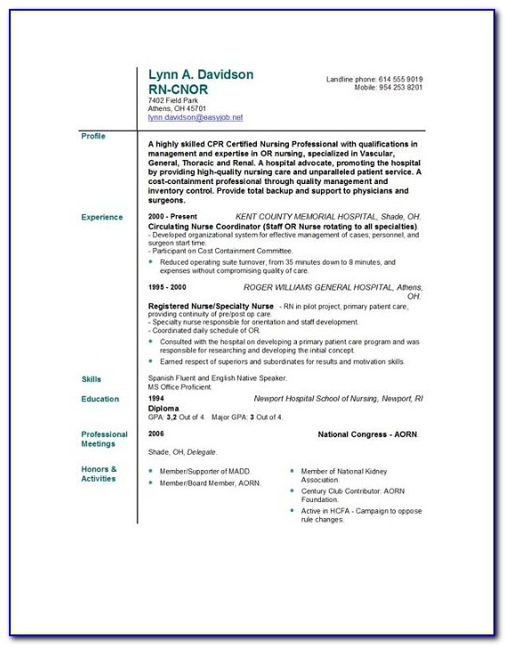 Free Rn Resume Examples