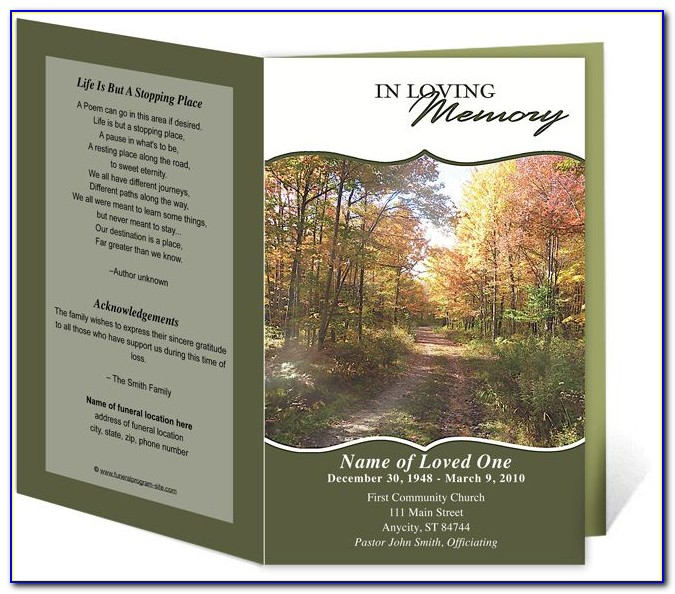 Funeral Program Template Free Word