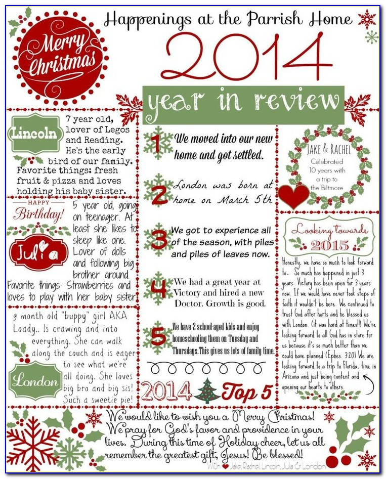 Holiday Newsletter Templates Free