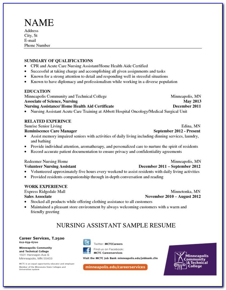Home Health Care Resume Template