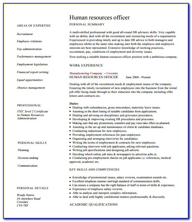 Hr Resume Templates Free Download