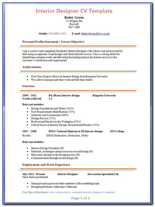Interior Designer Resume Format Download